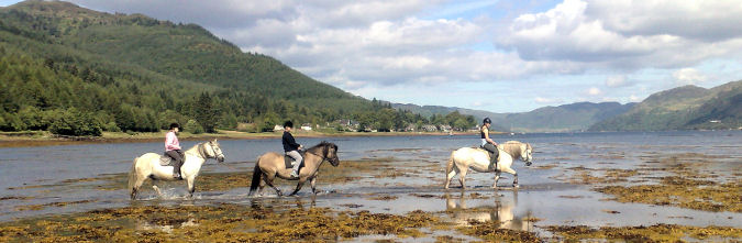 Our pony treks can include Loch Duich, where you can see the famous Eilean Donan Castle in the distance